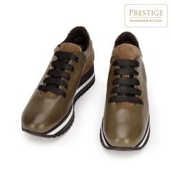 Damskie sneakersy z trzech rodzajów skóry na platformie, khaki, 93-D-652-Z-41, Zdjęcie 1