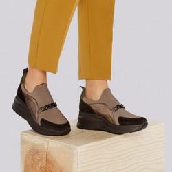 Damskie sneakersy zamszowe z łańcuchem, beżowo - srebrny, 93-D-653-X1-37, Zdjęcie 1