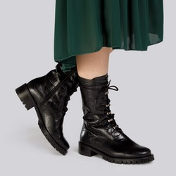 Croc-embossed leather combat boots, black, 93-D-805-1-36, Photo 1