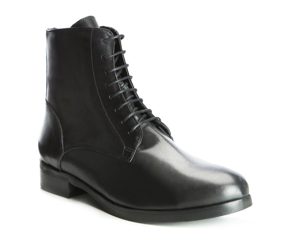Обувь женскаяЖенские полуботинки на шнуровке выполненные по технологии hand made из лучшей итальянской кожи. Подошва сделана  из синтетического материала. Модель идеально сочетается со стилем casual.           кожа натуральная          кожа натуральная          материал синтетический<br><br>секс: женщина<br>Цвет: черный<br>Размер EU: 36<br>материал:: Натуральная кожа<br>примерная высота каблука (см):: 3<br>примерная высота голенища (см): 17