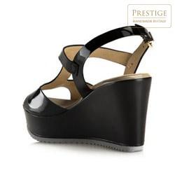 Damskie sandały ze skóry lakierowanej na koturnie, czarny, 80-D-103-1-39_5, Zdjęcie 1