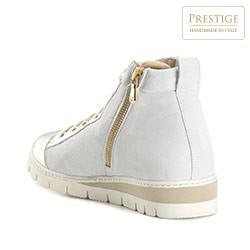 Damskie sneakersy nad kostkę, biało - złoty, 82-D-114-9-35, Zdjęcie 1