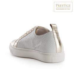 Damskie skórzane sneakersy klasyczne, biało - złoty, 82-D-151-0-37, Zdjęcie 1