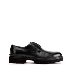 Buty derby skórzane na grubej podeszwie, czarny, 93-M-514-1-44, Zdjęcie 1