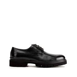 Buty derby skórzane na grubej podeszwie, czarny, 93-M-514-1-45, Zdjęcie 1