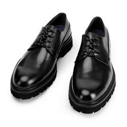 Buty derby skórzane na grubej podeszwie, czarny, 93-M-514-1-39, Zdjęcie 1