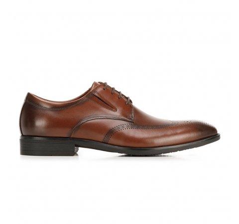 Buty do garnituru skórzane derby z elastycznymi wstawkami, Brązowy, 92-M-910-1-42, Zdjęcie 1