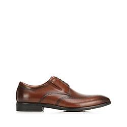 Buty do garnituru skórzane derby z elastycznymi wstawkami, Brązowy, 92-M-910-5-45, Zdjęcie 1