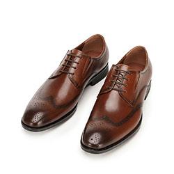 Buty do garnituru skórzane derby z elastycznymi wstawkami, brązowy, 92-M-910-5-43, Zdjęcie 1