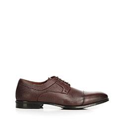 Buty do garnituru z tłoczonej skóry, ciemny brąz, 92-M-917-2-42, Zdjęcie 1
