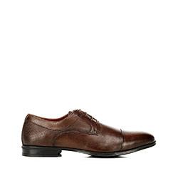 Buty do garnituru z tłoczonej skóry, jasny brąz, 92-M-917-4-45, Zdjęcie 1