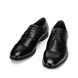 Buty do garnituru z tłoczonej skóry, czarny, 92-M-917-1-45, Zdjęcie 1