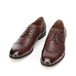 Buty do garnituru z tłoczonej skóry, ciemny brąz, 92-M-917-2-45, Zdjęcie 1