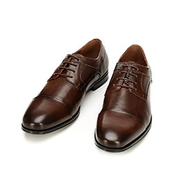 Men's dress shoes in embossed leather, light brown, 92-M-917-4-44, Photo 1