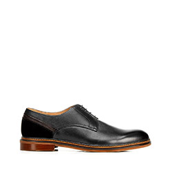 Buty do garnituru ze skóry proste, czarny, 92-M-506-1-40, Zdjęcie 1