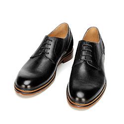 Buty do garnituru ze skóry proste, czarny, 92-M-506-1-43, Zdjęcie 1