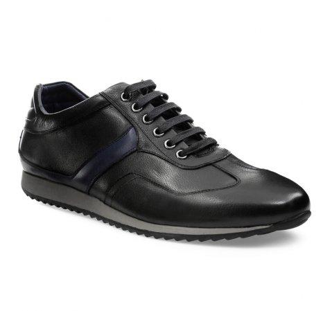 Męskie sneakersy skórzane z kolorowym paskiem, czarny, 85-M-915-1-40, Zdjęcie 1