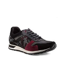 Men's camo pattern lace up trainers, black-burgundy, 85-M-927-X-39, Photo 1