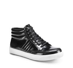Męskie sneakersy z błyszczącej skóry, grafitowy, 85-M-953-8-42, Zdjęcie 1