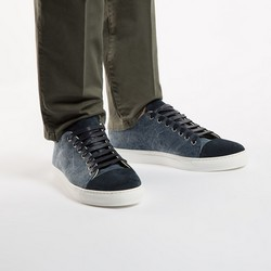 Men's nubuck and textile lace up trainers, navy blue, 86-M-050-7-41, Photo 1