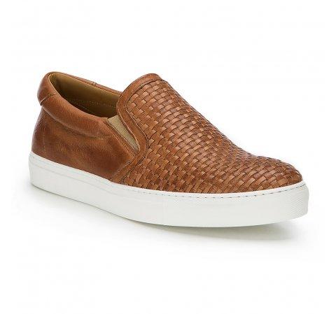 Męskie sneakersy wsuwane z plecionki, Brązowy, 86-M-052-4-45, Zdjęcie 1