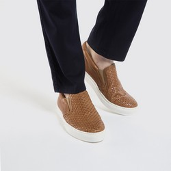 Męskie sneakersy wsuwane z plecionki, Brązowy, 86-M-052-4-42, Zdjęcie 1