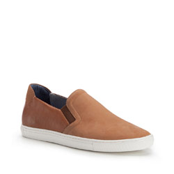 Męskie sneakersy wsuwane z nubuku, jasny brąz, 86-M-601-5-43, Zdjęcie 1