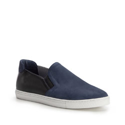 Men's nubuck leather slip on trainers, navy blue, 86-M-601-7-41, Photo 1