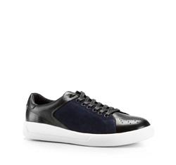 Męskie sneakersy ze skóry, czarno - granatowy, 86-M-811-1-41, Zdjęcie 1