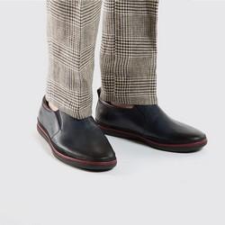 Męskie sneakersy ze skóry wsuwane, granatowy, 86-M-900-7-44, Zdjęcie 1