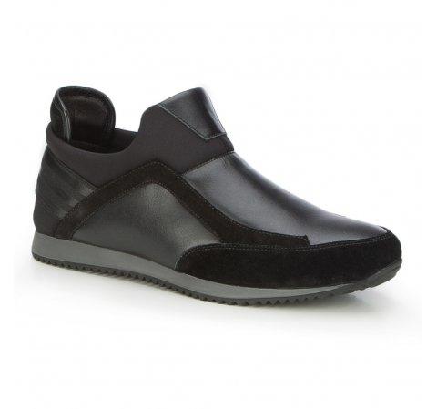 Męskie sneakersy ze skóry wsuwane, czarny, 87-M-928-1-41, Zdjęcie 1