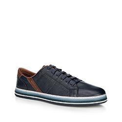 Męskie sneakersy ze skóry z kontrastową podeszwą, granatowy, 88-M-803-7-39, Zdjęcie 1
