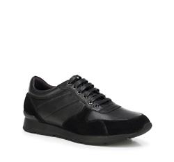 Męskie sneakersy z nubuku i skóry licowej, czarny, 89-M-509-1-39, Zdjęcie 1