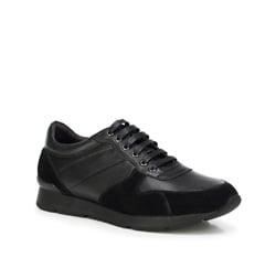 Męskie sneakersy z nubuku i skóry licowej, czarny, 89-M-509-1-41, Zdjęcie 1