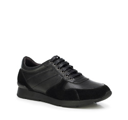 Men's nubuck and grain leather lace up trainers, black, 89-M-509-1-44, Photo 1