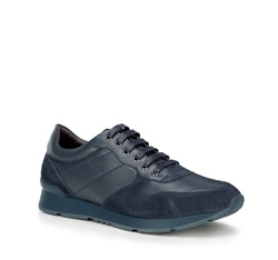 Men's nubuck and grain leather lace up trainers, navy blue, 89-M-509-7-42, Photo 1