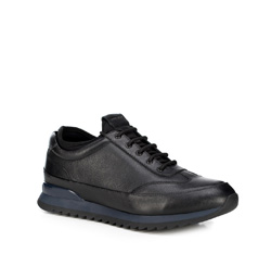 Men's leather lace up trainers, black, 89-M-908-1-40, Photo 1