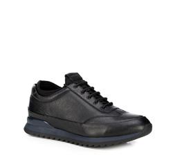 Men's leather lace up trainers, black, 89-M-908-1-42, Photo 1