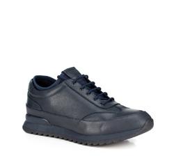 Męskie sneakersy ze skóry, granatowy, 89-M-908-7-40, Zdjęcie 1