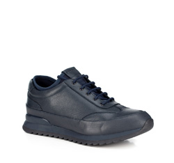 Men's leather lace up trainers, navy blue, 89-M-908-7-44, Photo 1