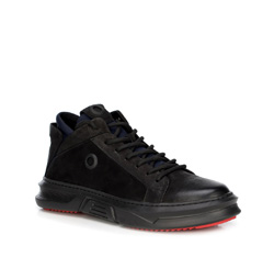 Męskie sneakersy ze skarpetą, czarny, 89-M-909-1-44, Zdjęcie 1