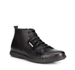 Men's leather lace up trainers, black, 89-M-918-1-45, Photo 1