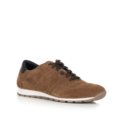 Men's suede lace up trainers, brown, 90-M-301-5-43, Photo 1