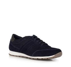 Men's suede lace up trainers, navy blue, 90-M-301-7-40, Photo 1