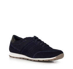 Men's suede lace up trainers, navy blue, 90-M-301-7-43, Photo 1