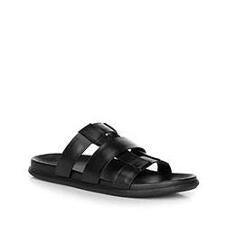 Męskie sandały skórzane typu rzymianki, czarny, 90-M-517-1-41, Zdjęcie 1