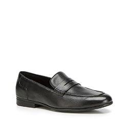 Męskie loafersy skórzane, czarny, 90-M-518-1-41, Zdjęcie 1