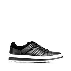 Męskie sneakersy skórzane na grubej podeszwie, czarno - biały, 92-M-500-1-39, Zdjęcie 1