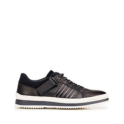 Men's leather trainers with a thick sole, navy blue-white, 92-M-500-7-39, Photo 1