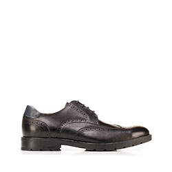 Leather brogue shoes, black, 92-M-504-1-44, Photo 1
